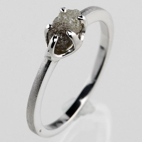 Raw Earth .84ct uncut Rough Diamond Unique Color Cubic Solitaire Custom Silver Ring