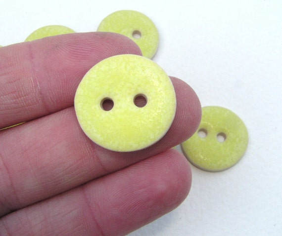 Yellow Buttons round 3/4 inch stoneware