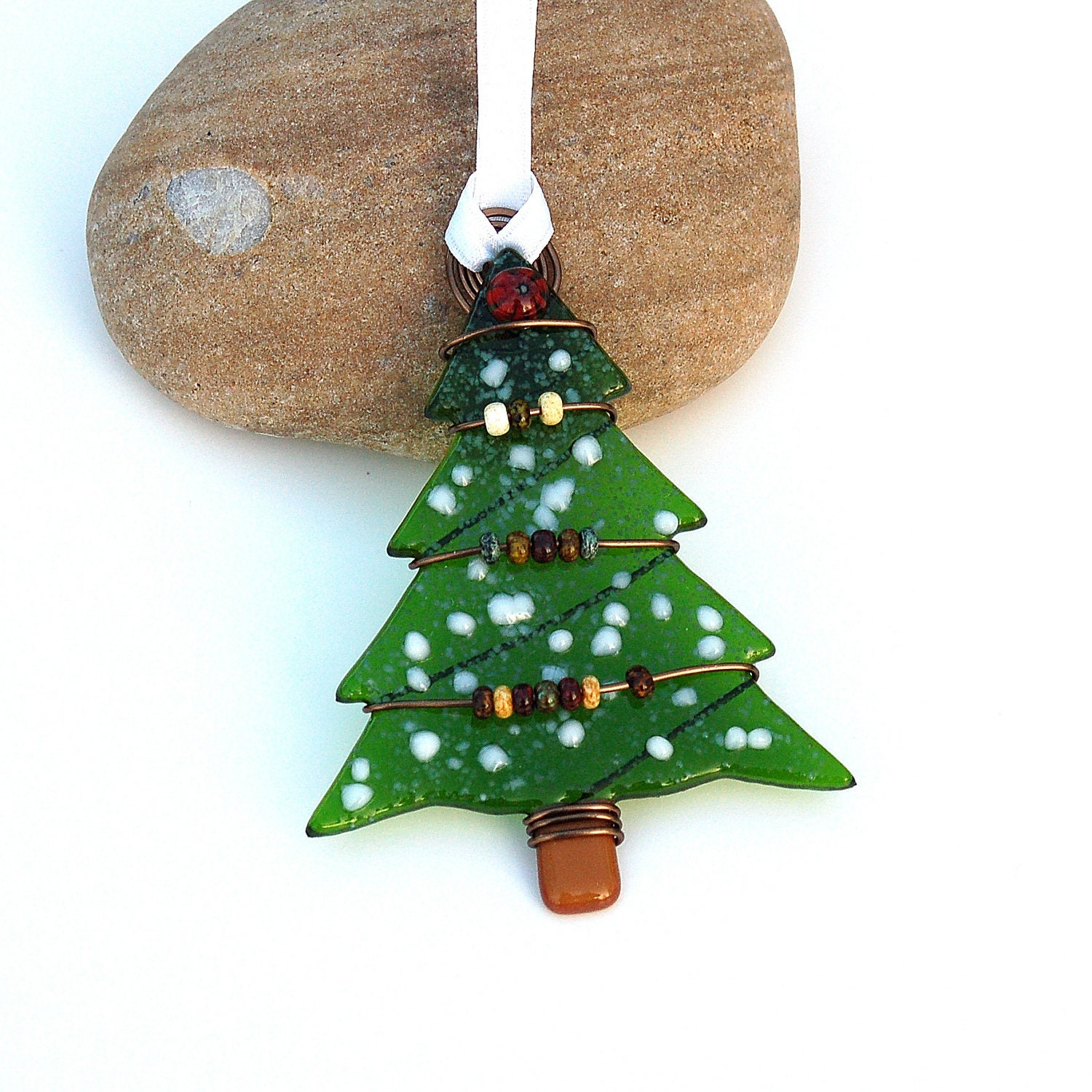 Fused glass christmas tree ornament suncatcher by