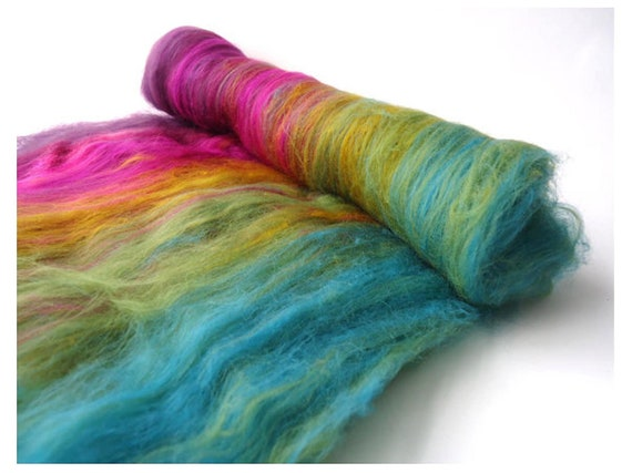 Spinning Batt - Purple - Green - Jade -  Gradient - merino wool - Felting - UK - 3.5oz  - 100g - IRIDESCENT PUDDLE