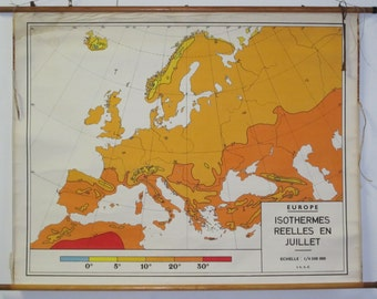 Vintage Belgian School Map of European Isotherms (July)