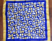 Vintage Blue, Gold, &  White Geometric Patterned Scarf