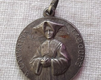 MIRACULOUS MEDAL St Catherine Labouré Sterling Silver Medal, Old Vintage French  Religious Medal
