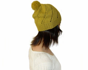 Sale 20% OFF - Hand Knitted Spiral Lace Pattern Beanie Hat In LimeGreen - Beanie with PomPom - Wool Blend - Seamless Hat- Ready to Ship