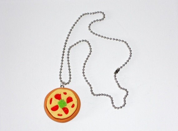 pizza necklace geekery jewelry by winkywonkwhimsy on etsy