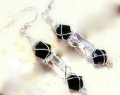 Earrings womens jewelry diva Closet Manhattan nights sleek black faceted gems clear glass dangle silver wire wrap unique TAGT tenX