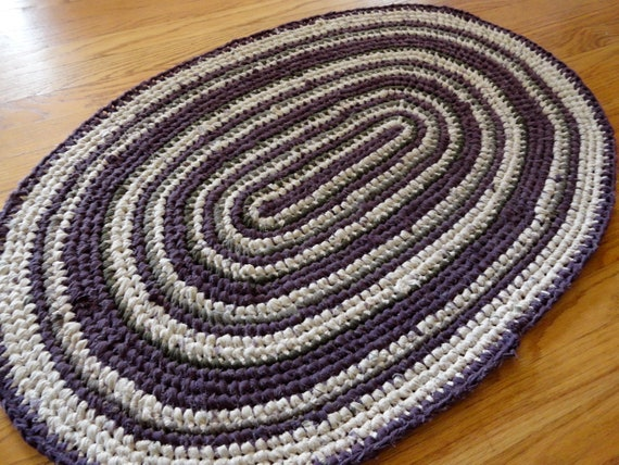 Plum and cream oval rag rug for Plum and cream rug