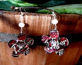 Recycled Dr. Pepper Flower Earrings