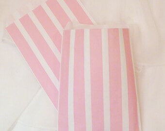 24 PINK Vertical Wide Stripe Party Favor Bags, Candy Buffet, Wedding, Baby Shower. Treat Bags