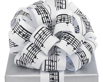 MUSIC NOTES RiBbOn -   FaNcY Wired Ribbon   Pretty Packages and Gifts - School Band- Concert - Giftwrap - Bows