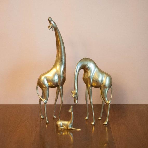 Large brass giraffes, giraffe family, brass animals, Hollywood Regency