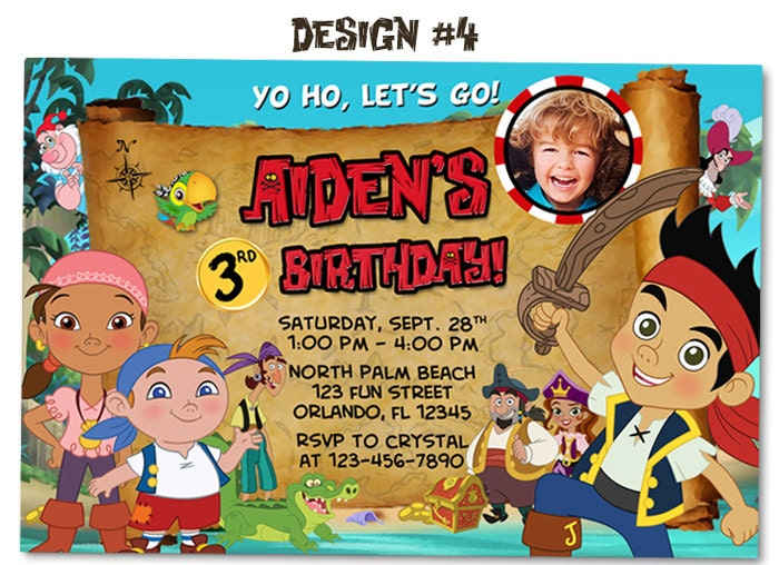 jake and the neverland pirates birthday party photo, Birthday invitations