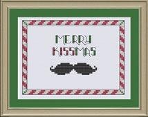 Merry Kissmas: funny Christmas mustache cross-stitch pattern