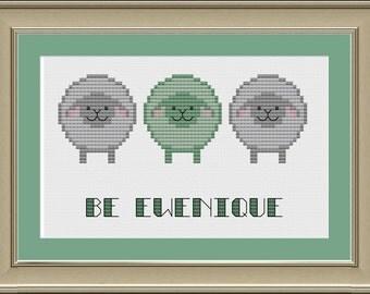 Be ewenique: cute sheep cross-stitch pattern