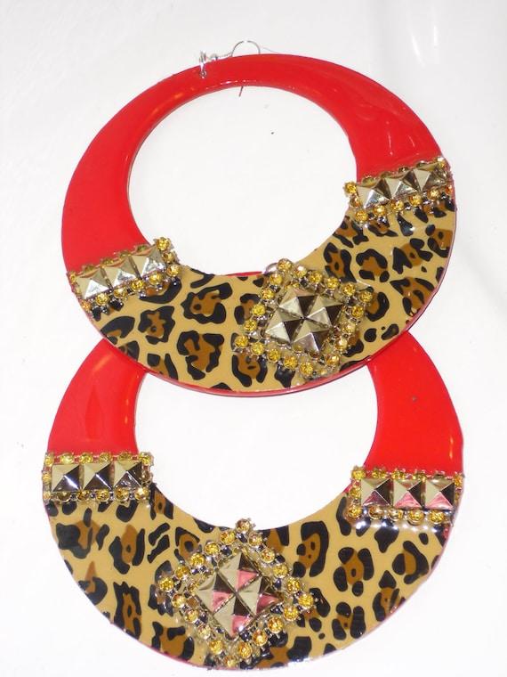 red leopard hoop earrings