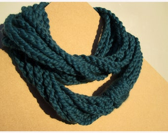 Peacock Scarf - Crochet Infinity Scarf - handmade in San Francisco - circle scarf - cowl - chunky knit