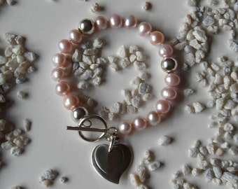 Pink Pearl Bracelet with Sterling Silver Hearts -  The Fresh Water J'Adore