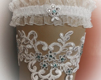 French Lace Wedding Garter Set with Swarovski Crystals