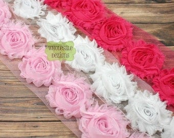 Light Pink, Hot Pink, and White Shabby Chic Chiffon Flowers - Wholesale Lot Frayed Vintage Rosettes 1 1/2 Yards