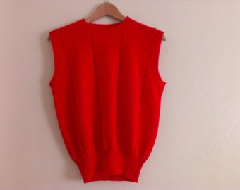 80s vintage women's large red acrylic sweater vest