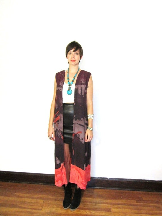 Sheer Abstract Watercolor Brushstrokes Festival Duster Tank Blouse in Red, Orange, Lavender, and Purple