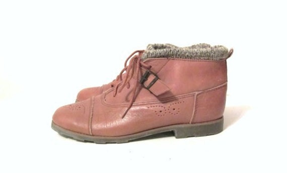 Women's Esprit Dark Tan Brown Sweater Top Ankle Boots Spectator Design Size 7 1/2