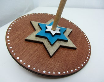 Star of David wooden dreidel(spinning top for Hanukkah)