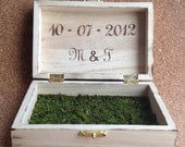 "Personalized Rustic Hand Stamped ""With This Ring I Thee Wed"" Ring Bearer Box w/ burned edging lined w/Moss"