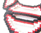 Black, red and white aztec statement necklace