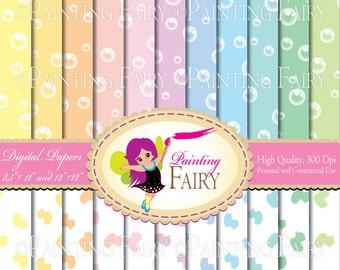 Digital baby backgrounds Rainbows Bubbles papers Fun Colorful Rubber Duck paper pack DIY layout images Personal & Commercial Use pf00038-1