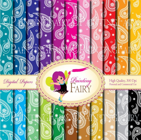 22 Digital papers Paisley backgrounds papers Fun Paisley Rainbows Colorful pattern paper pack DIY art sheets flower paisley images pf00046-1