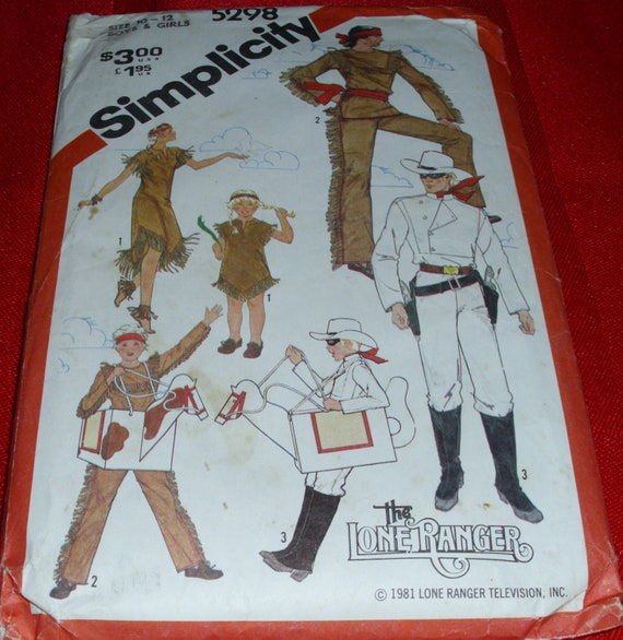 The LONE RANGER and TONTO pattern 1981 Simplicity  Boys and Girls 10 - 12 size