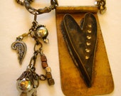 Soldered Mixed Metal,Heart Necklace with Resin, Altered Art, Bohemian