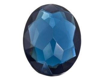 12 Large Blue Focal Gems, 22x30mm Faceted Oval Cut, Transparent Sapphire Glass Jewel, Wholesale Jewelry Glass Stone, Vintage Czech Destash