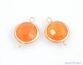 2pcs - Orange Color and Matted Gold Framed Round Connector / orange / 16k gold plating / gemstone / stone / 11x16mm / SORMG002-C