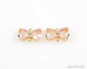 SLPG042-C (2pcs) / Light Peach Color and Gold Framed Butterfly Connector / 10mm x 7mm