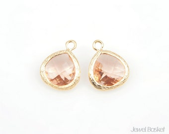Light Peach Color and Gold Framed Glass Pendant - 2pcs Light Peach Glass Pendant, Jewelry Pendant / 10.5mm x 14mm / SLPG040-P