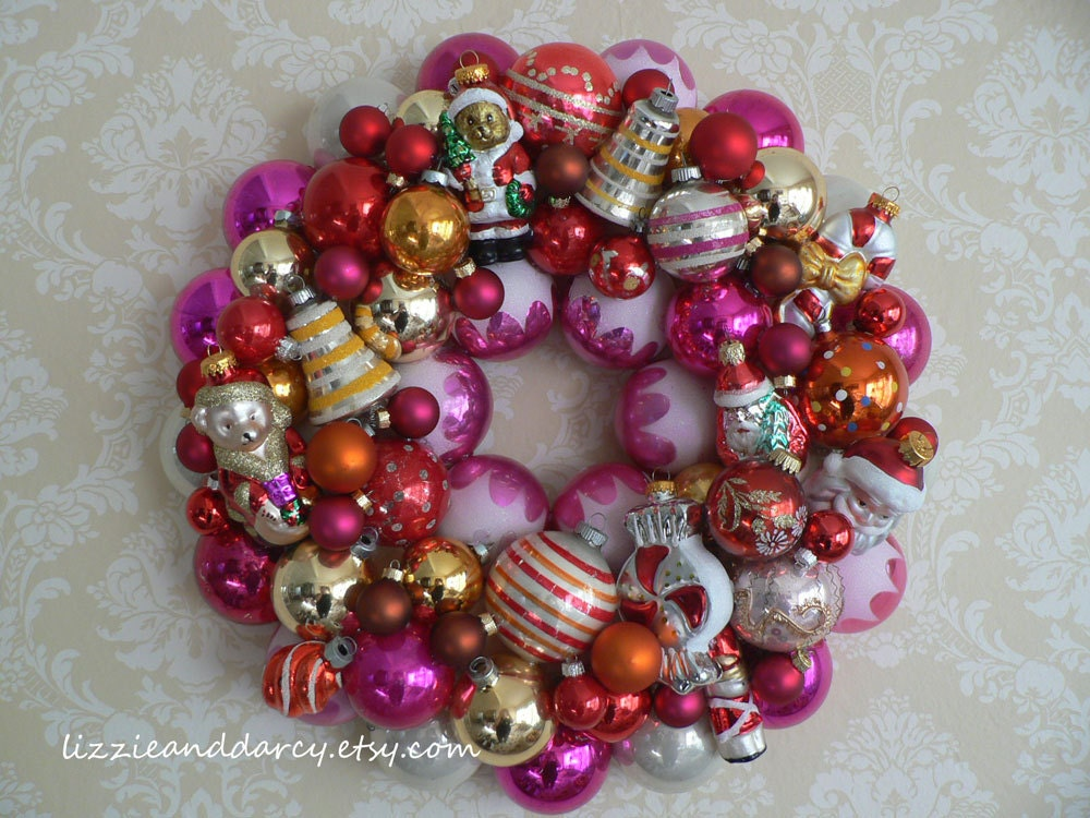 Red Pink Orange Gold New and Vintage Glass Ornament Christmas Wreath LOCAL DELIVERY ONLY
