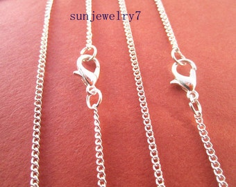 100pcs 50cm silver Color Necklace Chain For Jewelry Making 1mmx2mm
