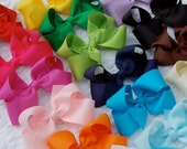Classic Boutique Hair Bow on Alligator Clip - Complete Collection - Set of 24 Bows - Special Price - Solid Grosgrain Ribbon