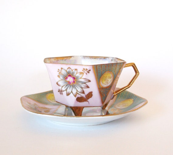 Hand Painted Lusterware Tri Footed Teacup - Pink and Green with Gold- Japan
