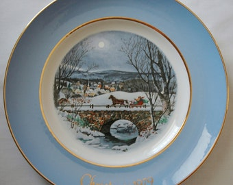 Featured Treasury List Item, Dashing Through the Snow, Christmas Plate 1979, Collectible, Avon.