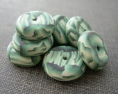 Polymer clay rondelle beads in artichoke green shades, set of 8
