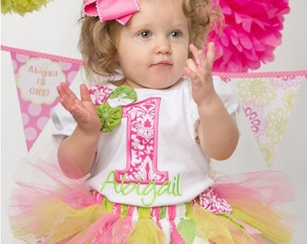 Personalized Pink and Lime Green Fabric Tutu First Birthday Outfit