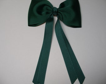 Hair Bow Forest Dark Hunter Green Streamers Tails Traditional Basic Classic Simple Style Toddler