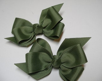 Hair Bows Pig Tail Pair Army Moss Green Toddler Girl Grosgrain Fern Green Twin Double Set