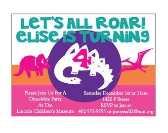 Dinosaur Birthday Party Invitation, Dinosaur Party, Dinosaur Birthday Invite- PDF Fiel
