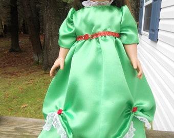 Green satin Christmas ball gown