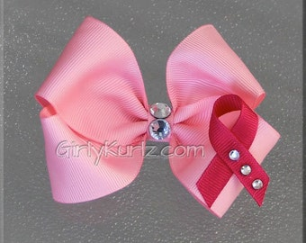Breast Cancer Hair Bow, Pink Breast Cancer Bow, Awareness Hair Bow, Hair Bow for Girls