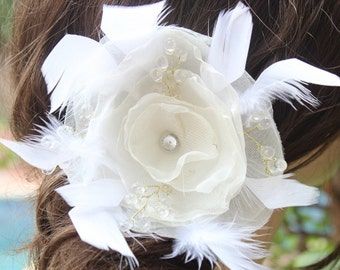 Very  cute organza  flower clip  with feather